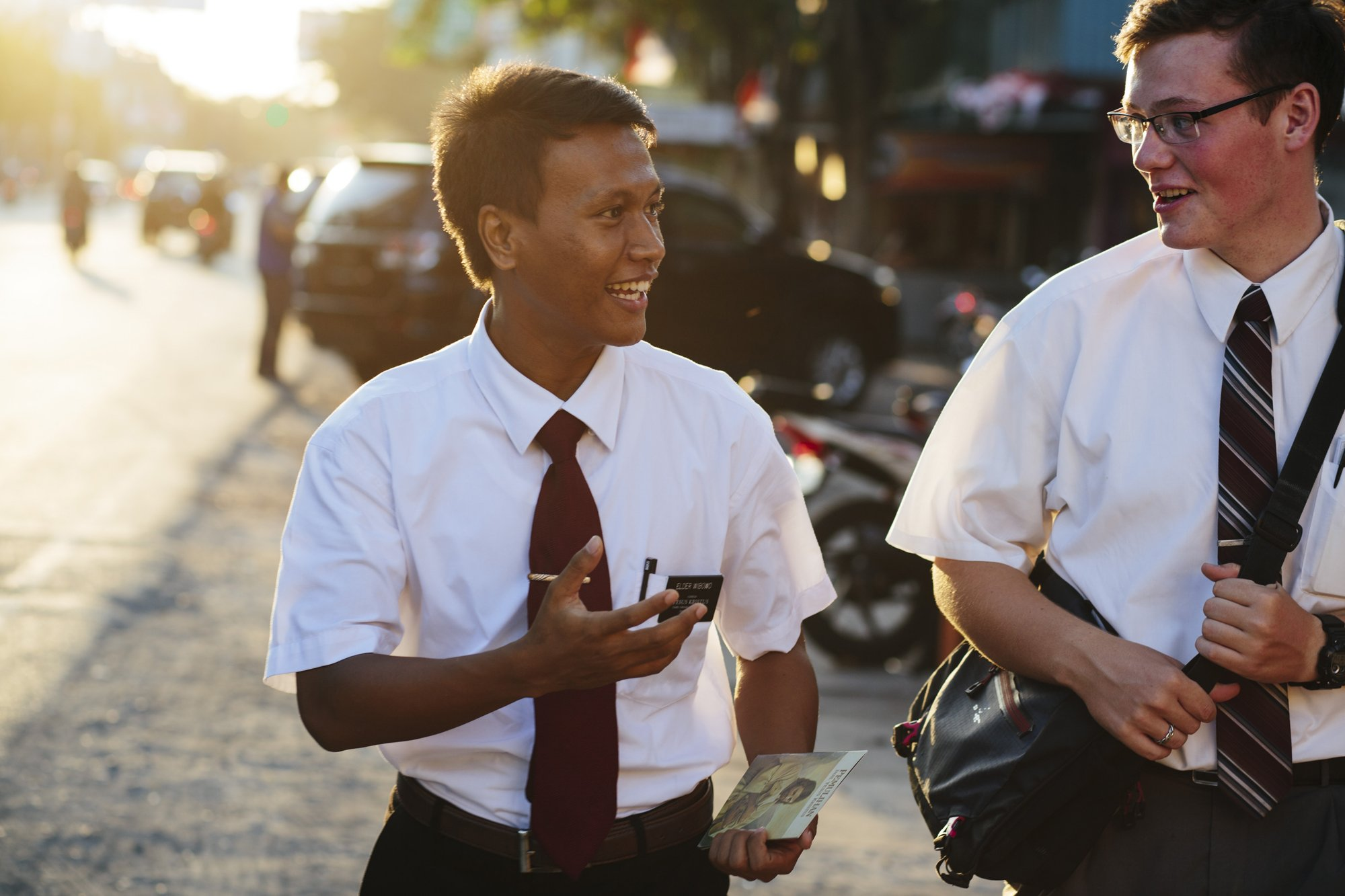 Mormon missionaries walks the streets of Indonesia.