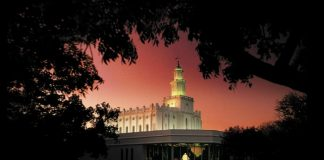 St George Utah LDS Temple Pink Sky