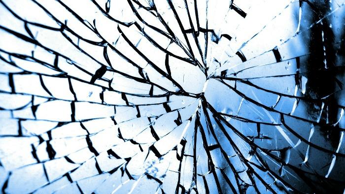 A broken mirror or window
