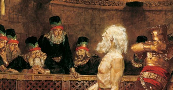 Abinadi testifies before Noah's priests