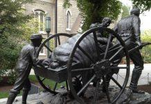 handcart statue