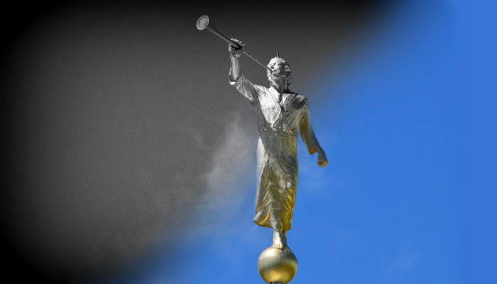Black and white to color image of angel Moroni