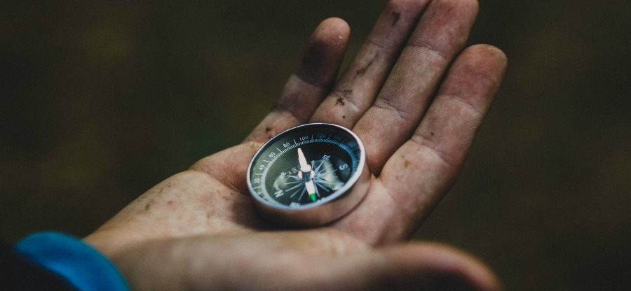 A journey of faith represented by a compass