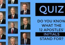 Quiz title with faces of apostles on it.