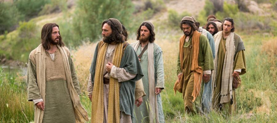 Jesus walks with his disciples