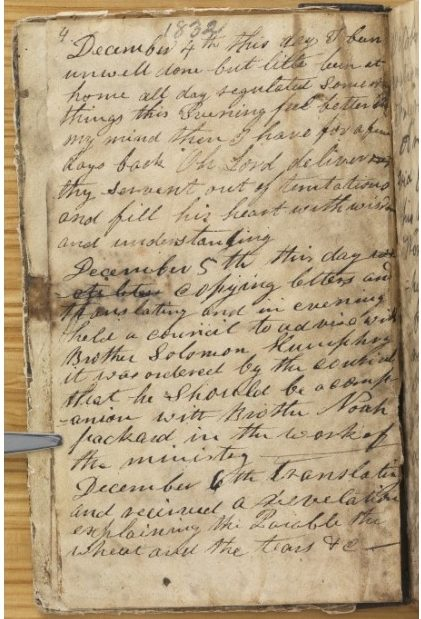 A page from Joseph Smith's personal journal