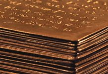 Close up image of golden plates