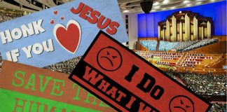 Bumper stickers in front of photo of General Conference