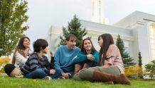family outside temple