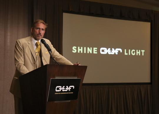 Jim Caviezel speaks at O.U.R. event.
