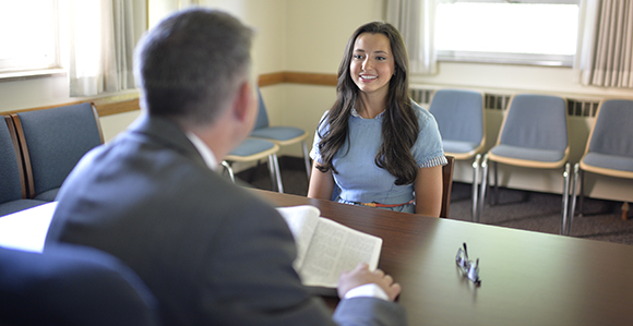 Bishop interviewing young woman lds