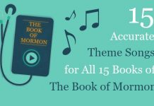 The Book of Mormon title on an illustrated music player screen