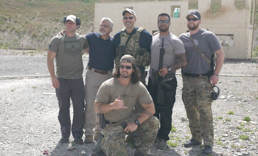 Actor Jim Caviezel with O.U.R. personnel.