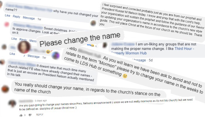 "People commenting about changing names that use the word ""Mormon."""