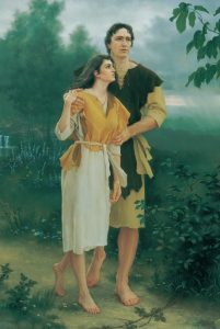 Painting of Adam and Eve.