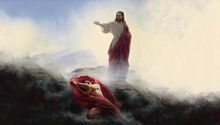 Painting of Christ casting out Satan.