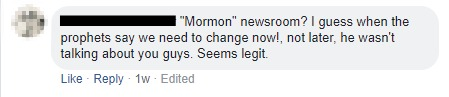 Comment to Mormon Newsroom