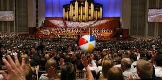 beach ball in Mormon general conference