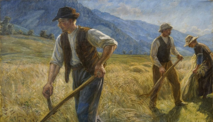 Mormon folklore Three men working in the field