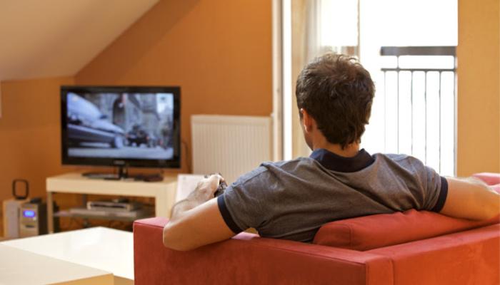Christ center home Mormon man watching tv