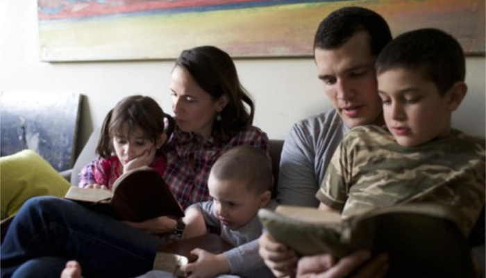 family reading scriptures