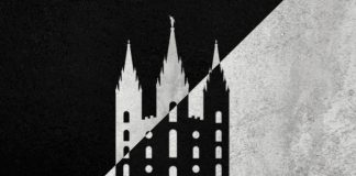 A graphic of a Latter-day Saint (Mormon) temple