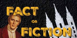 Fact or Fiction text on black background with images.