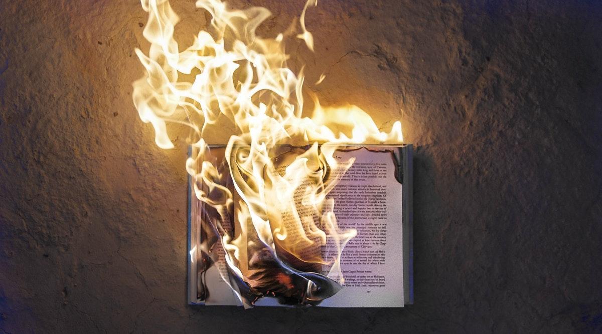Book burning swearing in literature