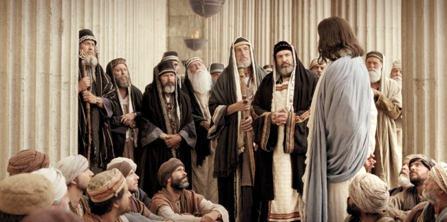 christ and pharisees in the temple
