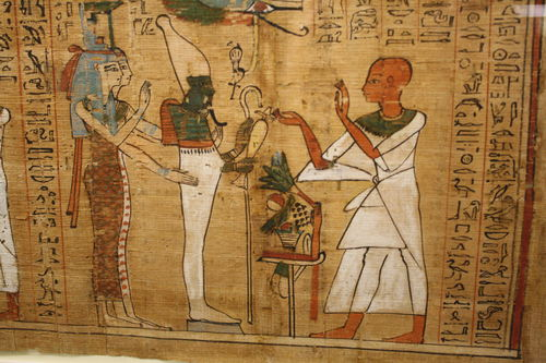 Mormon Ancient Egypt Temples an Egyptian with one hand in cupping shape while the other swears an oath.