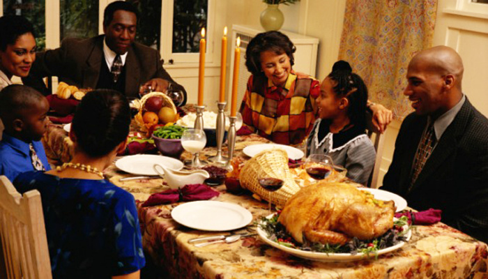 Mormon Black Friday Thanksgiving family eating Thanksgiving dinner