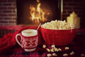 fireplace chocolate popcorn