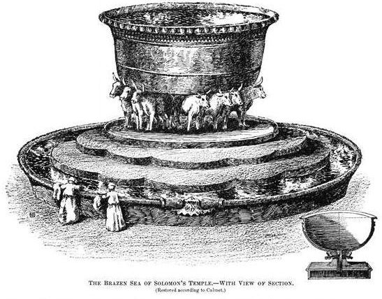 "A sketch of the ""molten sea"" from the temple of Solomon."