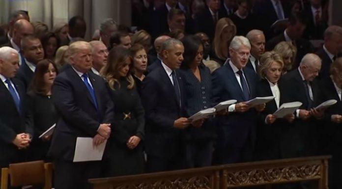 President Donald Trump at former President Bush's funeral.