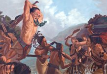 Painting of Lamanite and Nephite battle.