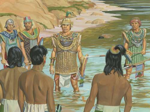 Illustration of Captain Moroni and Lamanites.