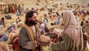 Christ and Peter holding baskets of food, from Mormon Channel