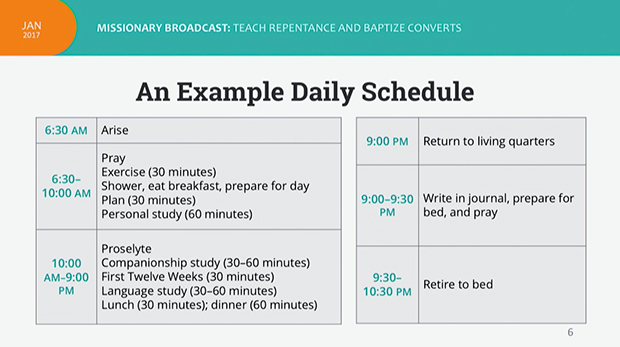 new Mormon missionary daily schedule