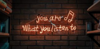 Neon sign about music.