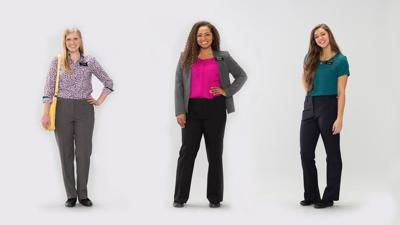 Three Mormon sister missionaries in slacks