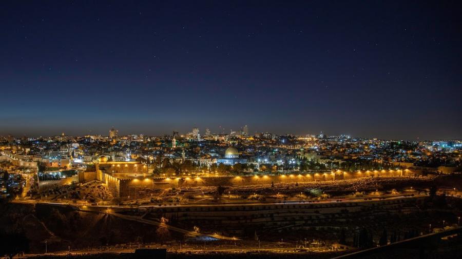 Photo of Jerusalem at night.