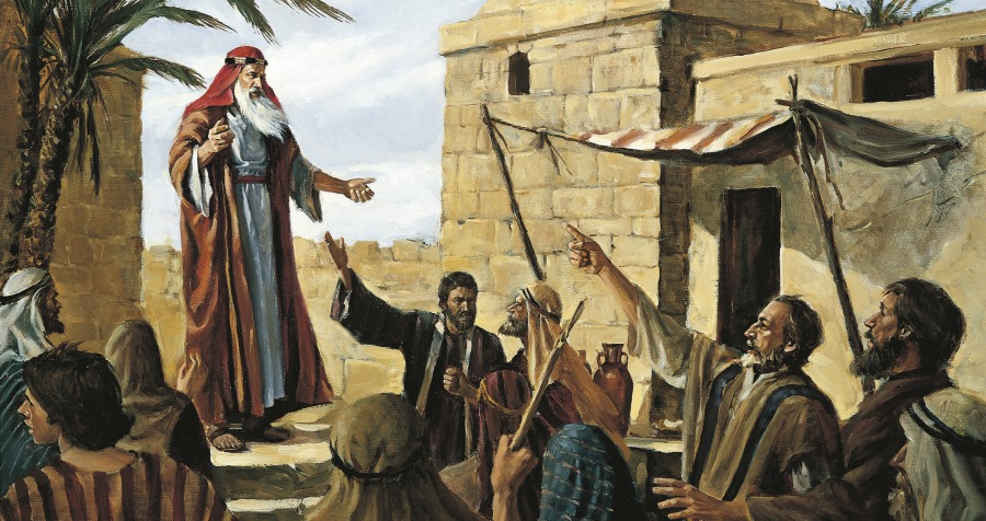 Illustration of Lehi from The Book of Mormon preaching in Jerusalem.