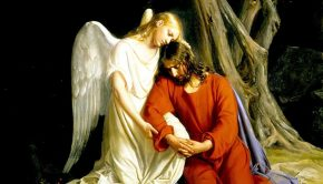 the savior in gethsemane with angel
