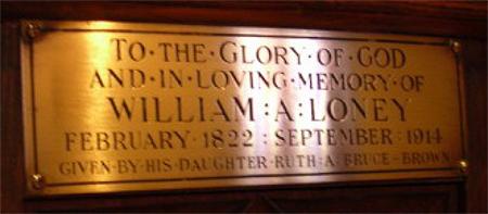 dedicatory plaque on church pew