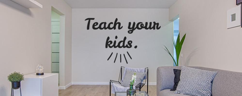Vinyl lettering on wall.