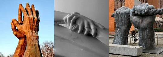 3 hand sculptures