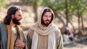 Jesus walking with Peter.