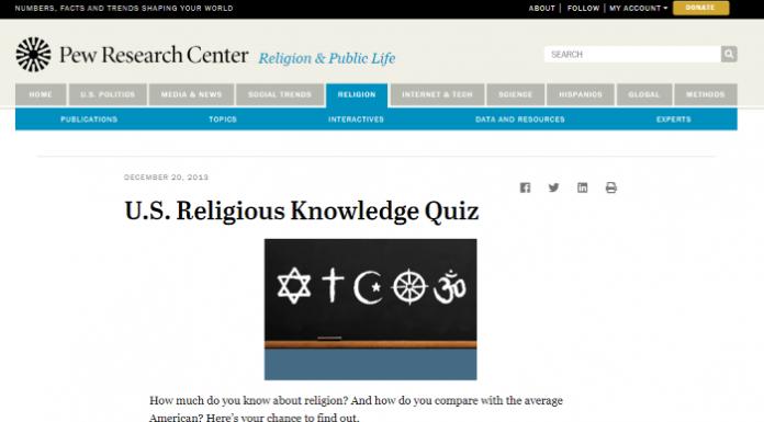 pew religion quiz mormon