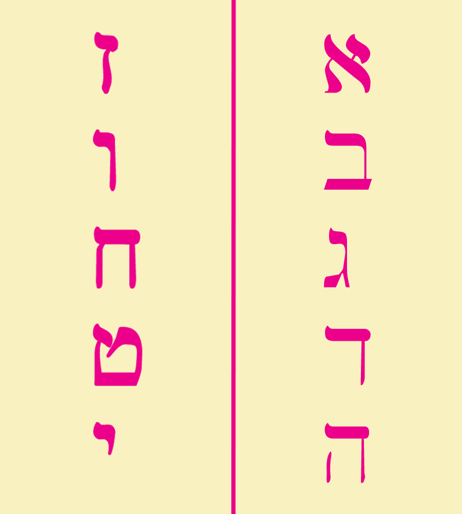 Hebrew letters for 10 commandments