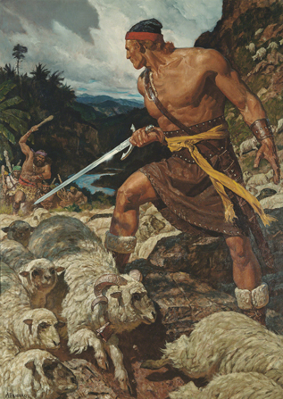 Ammon defending the flock of sheep